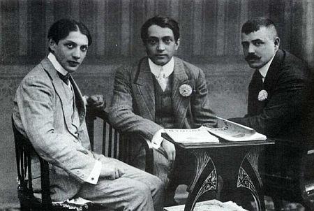 Ady Endre nagyváradi újságíró-kollegák között (1908)
