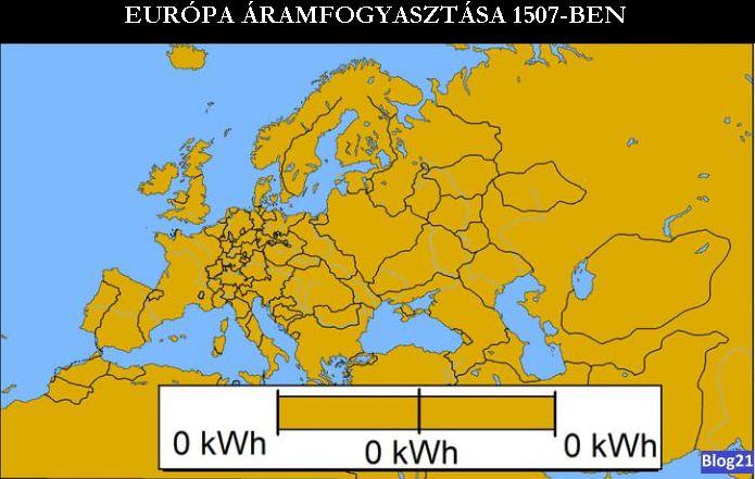 Áramfogyasztás Európában 1507-ben